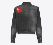 original jeansjacke aus schwarzem, gebleichten denim mit ysl herz- und blitzpatch