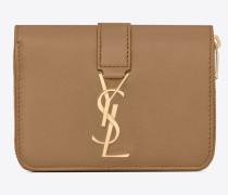 YSL LINE kompaktes Portemonnaie mit Reißverschluss aus Glattleder