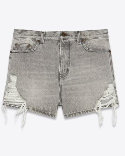 Baggy-Shorts aus sandgewaschenem grauen Denim mit abgenutzter Optik