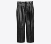 Wide-Leg Pleated Pants In Lambskin Schwarz