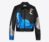 LOVE Jacke aus schwarzem Leder und blauem und silberfarbenem Lamé-Pythonleder