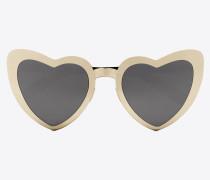 Sonnenbrille NEW WAVE 196 LOULOU aus goldfarbenem Metall und schwarzem Acetat mit grauen Gläsern