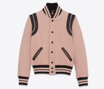 Klassische Teddy-Jacke aus puderfarbener Wolle