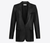 klassische jacke aus schwarzem leder