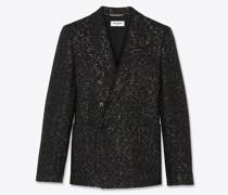 Zweireihige Jacke aus Paillettenbesetztem Wolltweed Schwarz