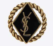 Army-Flechtbrosche aus goldfarbenem Zinn und Messing sowie Email