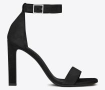 grace 105 sandale aus schwarzem veloursleder mit knöchelriemchen