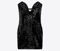 schwarzes minikleid mit pailletten und coeurausschnitt