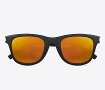 klassische sl 51 surf sonnenbrille mit glänzend schwarzem acetat-gestell und goldfarbenen gläsern
