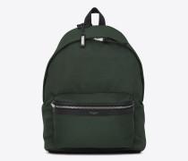 city rucksack aus dunkelgrünem nyloncanvas und schwarzem leder