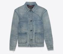 50s Jacket In  Denim Blau