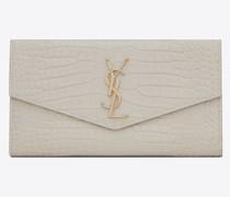 Uptown Großes Portemonnaie aus Glänzendem Leder mit Krokoprägung Weiß