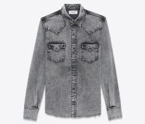Westernhemd aus ausgebleichtem grauem Denim