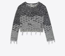 crop-pullover aus schwarzem und gebrochen weißem berberjacquard