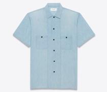 Langes Hemd aus Blau-Grauem Vintage-Denim Blau