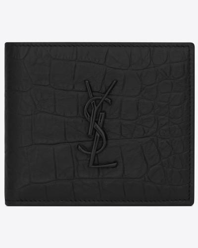 saint laurent paris east/west portemonnaie mit münzfach aus schwarzem leder mit krokodilledereffekt