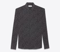 shirt mit yves-kragen aus schwarzem crêpe-de-chine mit schwarzem punktmuster
