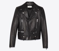 Jacke Im Motorcycle-Stil aus Schwarzem Leder Schwarz