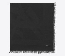 großer, quadratischer signature schal aus schwarzem seidenjacquard