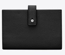 Weiches, kompaktes SAC DE JOUR Portemonnaie aus schwarzem Narbenleder