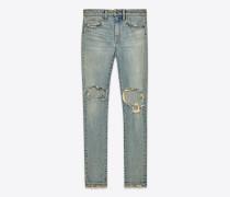 original eng geschnittene jeans mit mittlerer leibhöhe aus hellem stretchdenim mit verschmutzter optik