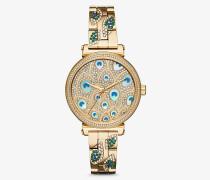 Armbanduhr Mini Sofie im Goldton mit Pave-Fassung und Pfauendesign