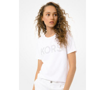 MK T-Shirt Aus Baumwoll-Jersey Mit Logo Aus Nieten - Weiss(Weiss) - Michael Kors