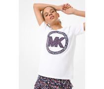 MK T-Shirt Aus Baumwoll-Jersey Mit Geblümtem Logo - Weiss(Weiss) - Michael Kors