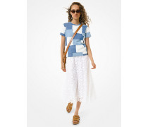 MK T-Shirt Aus Baumwoll-Jersey Im Patchwork-Design - Mittlere Waschung(Blau) - Michael Kors