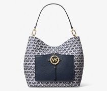 Schultertasche Amy Large aus Jacquard mit Logomuster