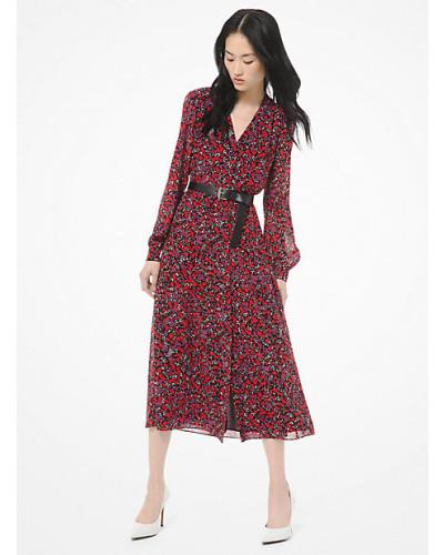 Hemdkleid aus Georgette mit Waldblumenmuster