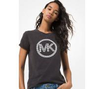 T-Shirt aus Baumwoll-Jersey Im Acid-Wash-Look mit Verziertem Logo