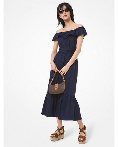 MK Schulterfreies Kleid Aus Baumwoll-Popeline Mit Stretch-Anteil - Original-Navyblau(Blau) - Michael Kors