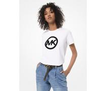 T-Shirt aus Baumwoll-Jersey mit Logo aus Samt