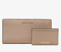 Schmale Brieftasche Jet Set Large aus Saffianleder