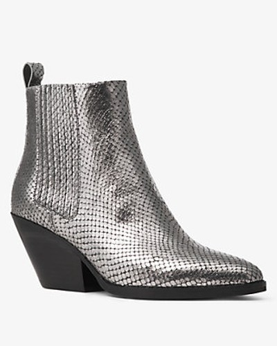 Stiefelette Sinclair aus Geprägtem Leder in Metallic-Optik