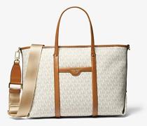 Shopper Beck Medium mit Logo und Lederbesatz