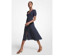 Kleid aus Georgette mit Punktmuster und Puffärmeln