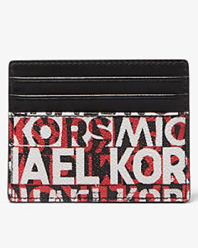 MK Kartenetui Greyson Tall Mit Grafischem Logo - Blk/rc Rd - Michael Kors