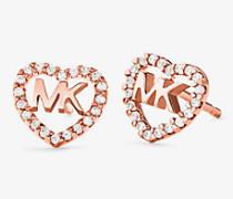 Herzförmige Pavé-Ohrstecker aus Sterlingsilber mit Edelmetallbeschichtung und Logo