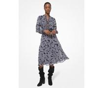 Kleid aus Georgette mit Paisleymuster und Spitzenbesatz