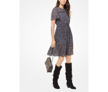 Kleid aus Chiffon mit Federmuster