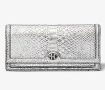 Clutch Monogramme aus Leder mit Pythonprägung In Metallic-Optik