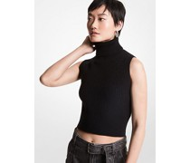 Verkürzter Ärmelloser Sweater aus Merino-Wollgemisch mit Rippenstruktur