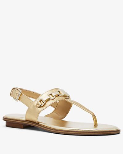 Sandale Charlton aus Leder in Metallic-Optik