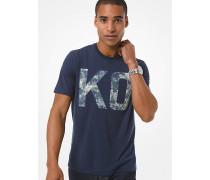 MK T-Shirt Aus Stretch-Jersey Mit Kors-Schriftzug - Midnight(Blau) - Michael Kors