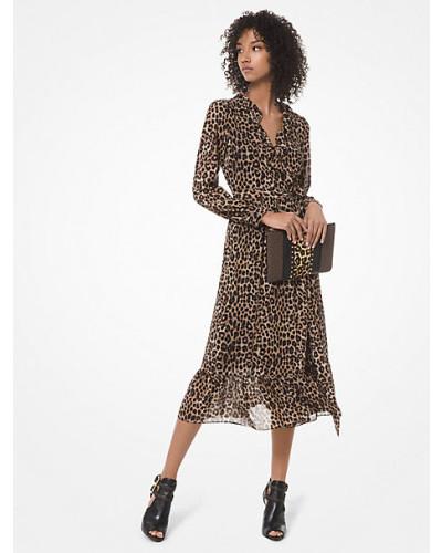 Wickelkleid aus Georgette mit Leopardenmuster