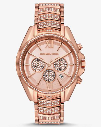 Übergroße Armbanduhr Whitney im Rose-Goldton mit Pave-Fassung
