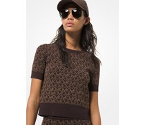 Kurzärmliger Sweater aus Stretch-Jacquard mit Logomuster