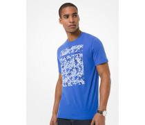 MK T-Shirt Aus Baumwoll-Jersey Mit Grafischen Logos - Pop Blue - Michael Kors